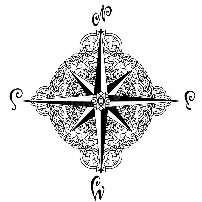 Wiatr wzrastał w mandala stylu Nautyczna cyrklowa ikona odizolowywająca na białym tle azjata wzór również zwrócić corel ilustracj ilustracji