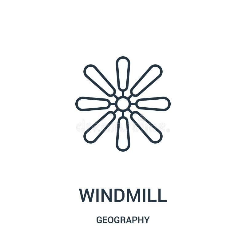 wiatraczek ikony wektor od geografii kolekcji Cienka kreskowa wiatraczka konturu ikony wektoru ilustracja ilustracji