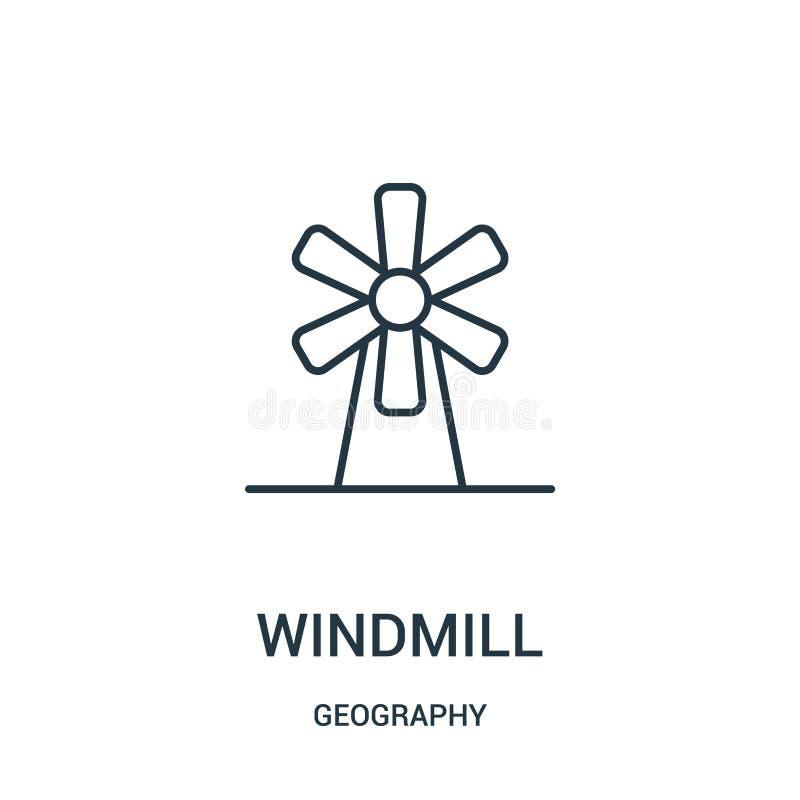 wiatraczek ikony wektor od geografii kolekcji Cienka kreskowa wiatraczka konturu ikony wektoru ilustracja ilustracja wektor