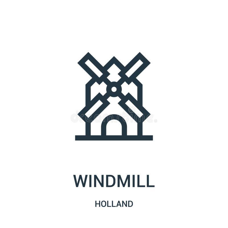 wiatraczek ikony wektor od Holland kolekcji Cienka kreskowa wiatraczka konturu ikony wektoru ilustracja Liniowy symbol dla używa  royalty ilustracja