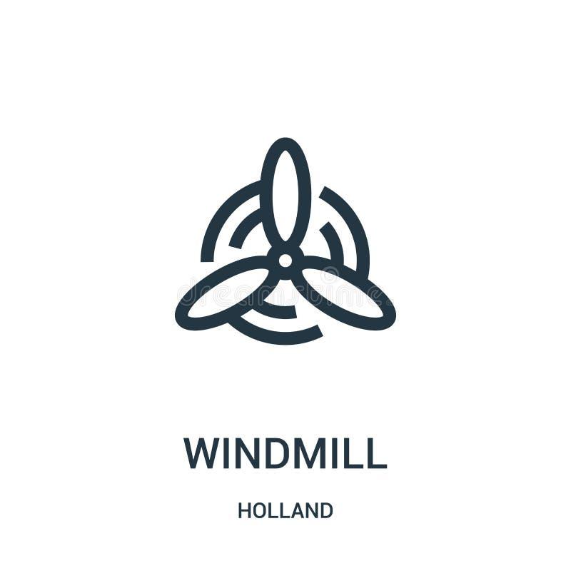 wiatraczek ikony wektor od Holland kolekcji Cienka kreskowa wiatraczka konturu ikony wektoru ilustracja Liniowy symbol dla używa  ilustracja wektor