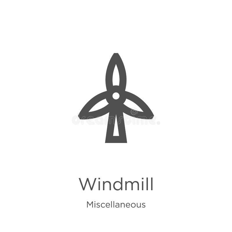 wiatraczek ikony wektor od różnej kolekcji Cienka kreskowa wiatraczka konturu ikony wektoru ilustracja Kontur, cienieje lini? royalty ilustracja