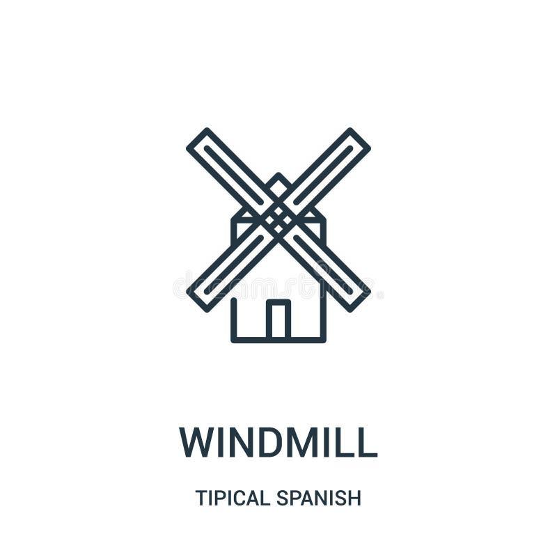 wiatraczek ikony wektor od tipical hiszpańskiej kolekcji Cienka kreskowa wiatraczka konturu ikony wektoru ilustracja Liniowy symb ilustracja wektor