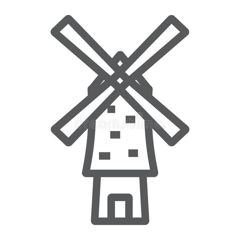 Wiatraczek kreskowa ikona, energia i wiatr, młynu znak, wektorowe grafika, liniowy wzór na białym tle royalty ilustracja