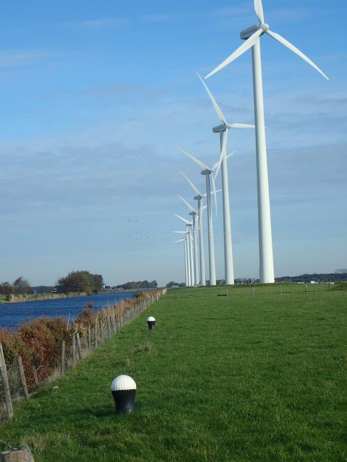 Wiatraczek w linii dla zielonego energia zdjęcia stock