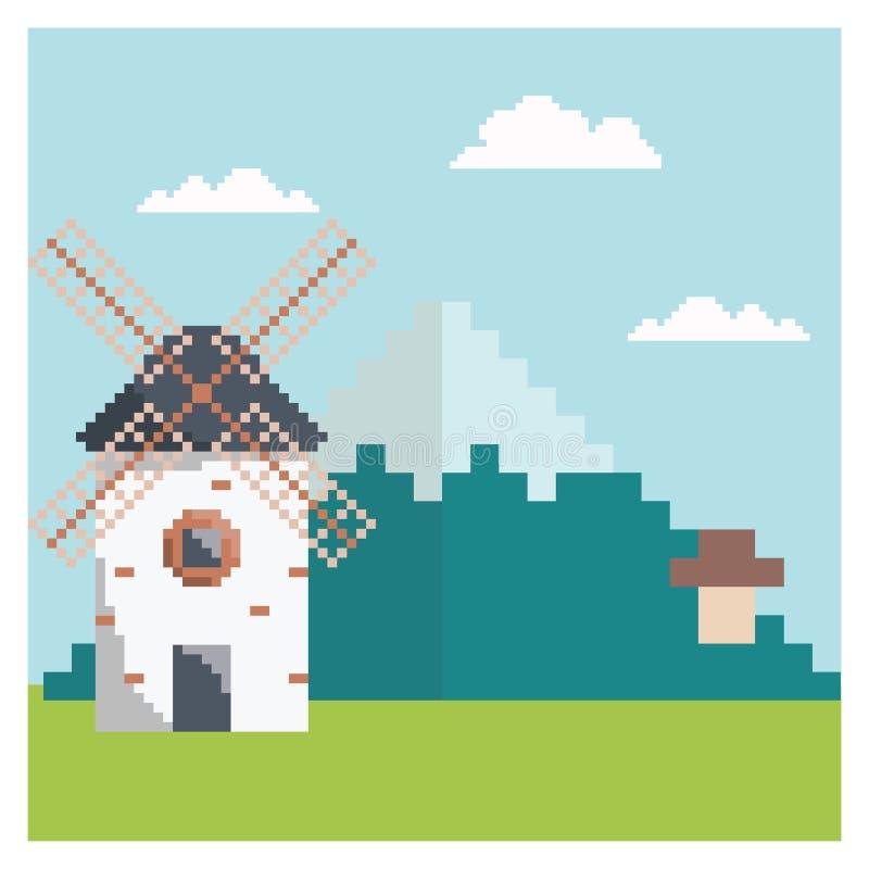 Wiatraczek w piksel sztuce ilustracji