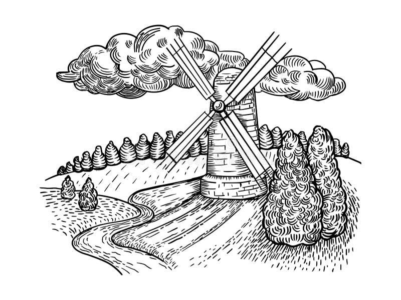Wiatraczka kraju krajobrazu rytownictwa stylu wektor ilustracja wektor