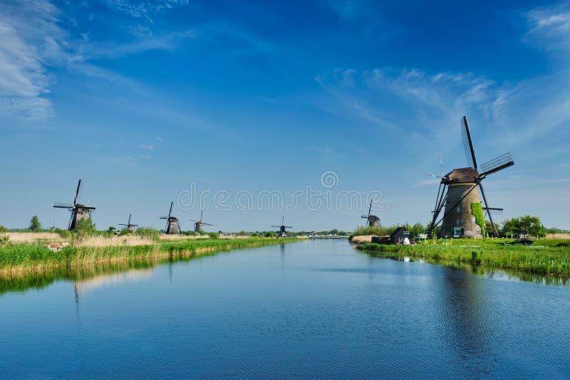 Wiatraczki przy Kinderdijk w Holandia Holandie obraz royalty free