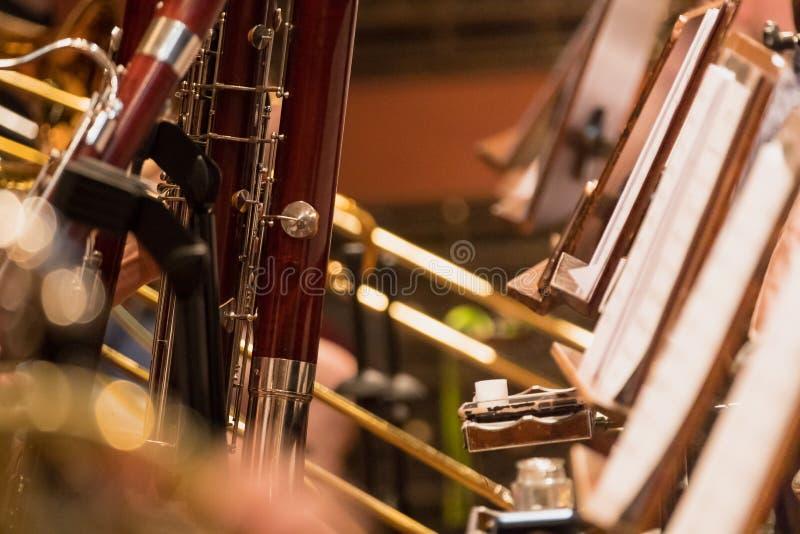 Wiatrowa sekcja podczas klasycznej koncertowej muzyki zdjęcie stock