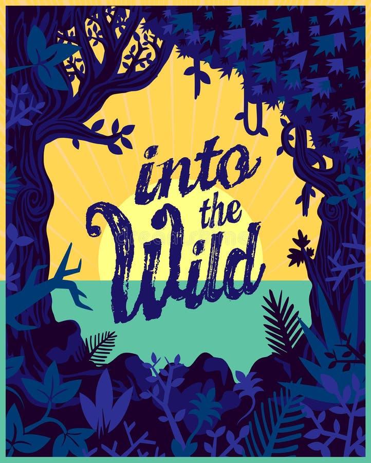 Wiatrowe natury dżungli rośliny i roślinność wektorowy płaski projekt podróżują plakatową ilustrację royalty ilustracja