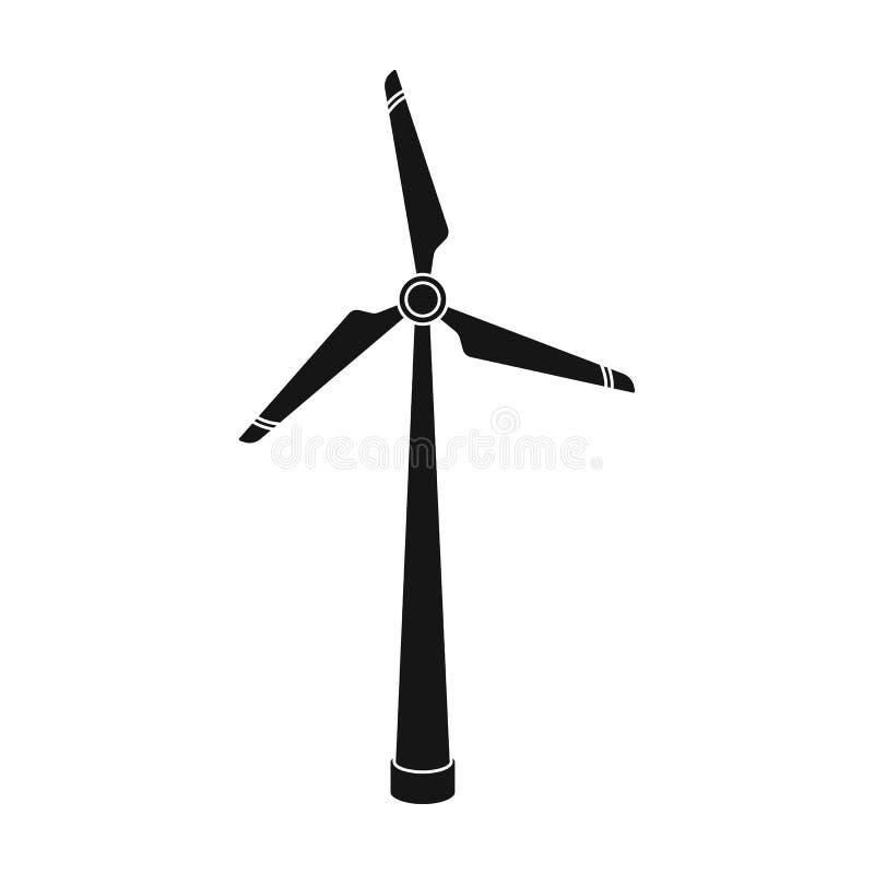 Wiatrowej energii turbinowa ikona w czerń stylu odizolowywającym na białym tle Życiorys i ekologia symbolu zapasu wektoru ilustra royalty ilustracja