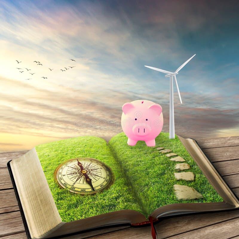 Wiatrowi generatory, ekologii savings prosiątka bank zdjęcia royalty free