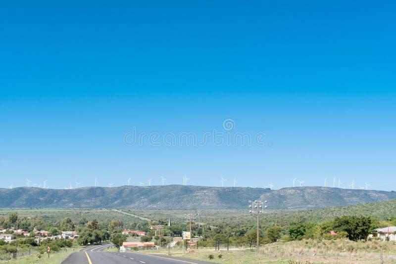 Wiatrowi generatory wykładają góry nad Cookhouse fotografia stock