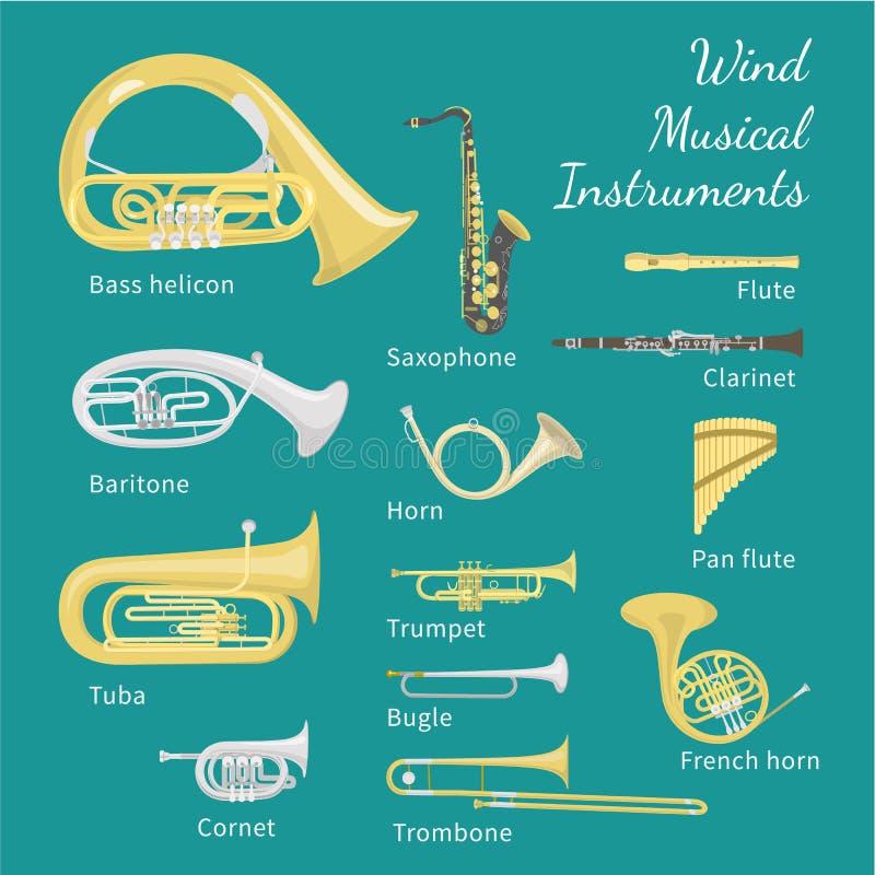 Wiatrowi instrumenty muzyczni ilustracja wektor