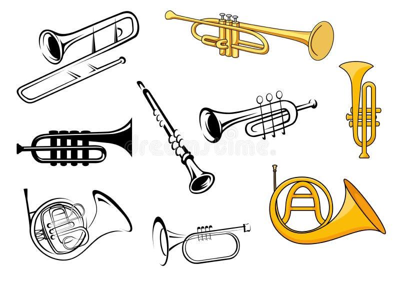 Wiatrowi instrumenty w nakreślenia i kreskówki stylu ilustracji