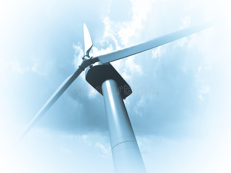 Wiatrowi młyny, energia odnawialna. ilustracja wektor