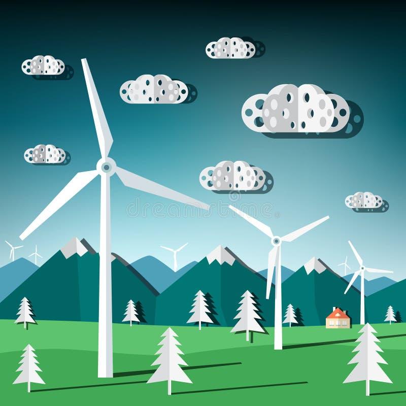 Wiatrowi młyny Wektorowi ilustracji