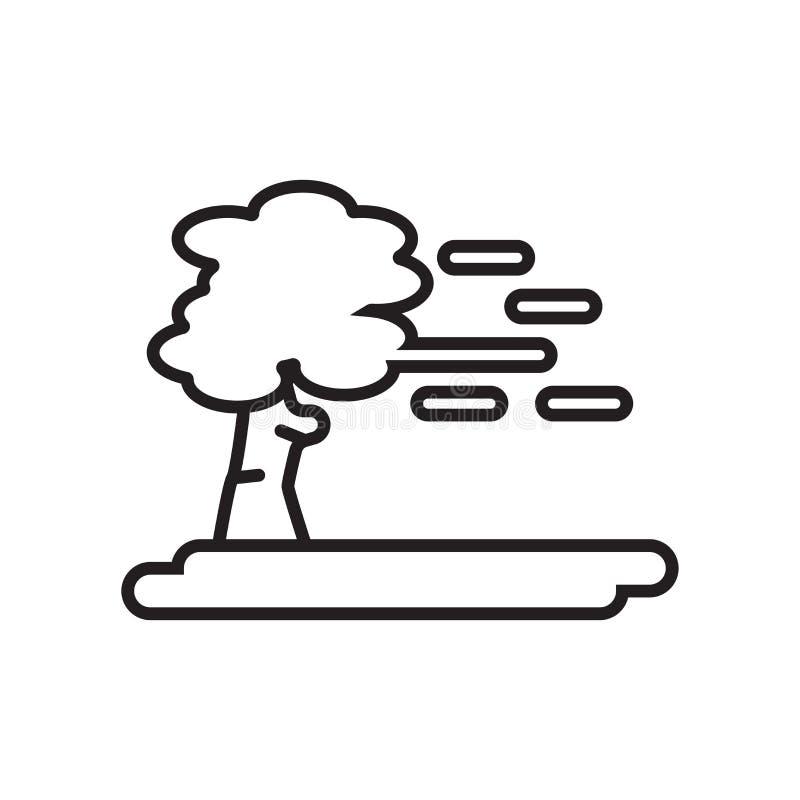Wiatrowy ikona wektoru znak i symbol odizolowywający na białym tle, W royalty ilustracja