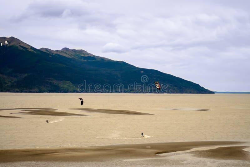 Wiatrowy surfuje Alaska styl fotografia royalty free