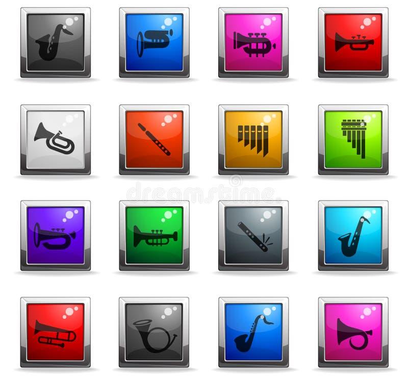 Wiatrowych instrumentów ikony set royalty ilustracja