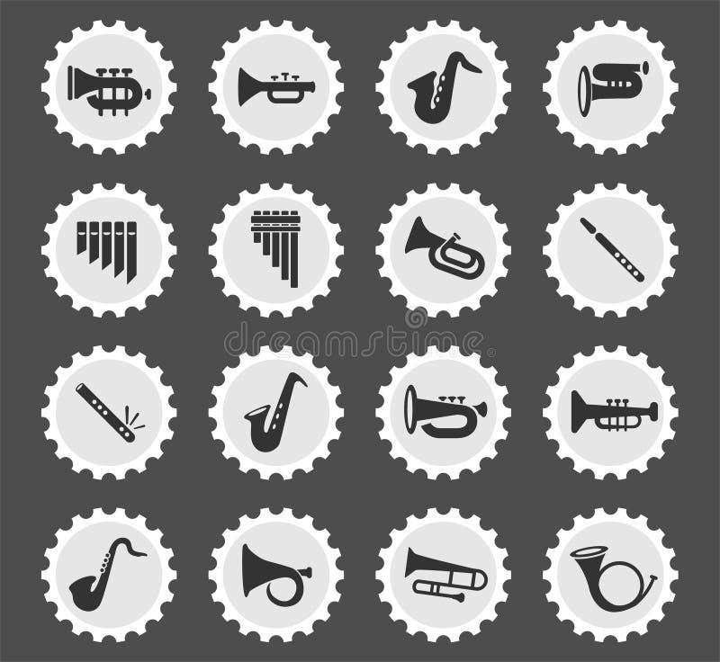 Wiatrowych instrumentów ikony set ilustracja wektor