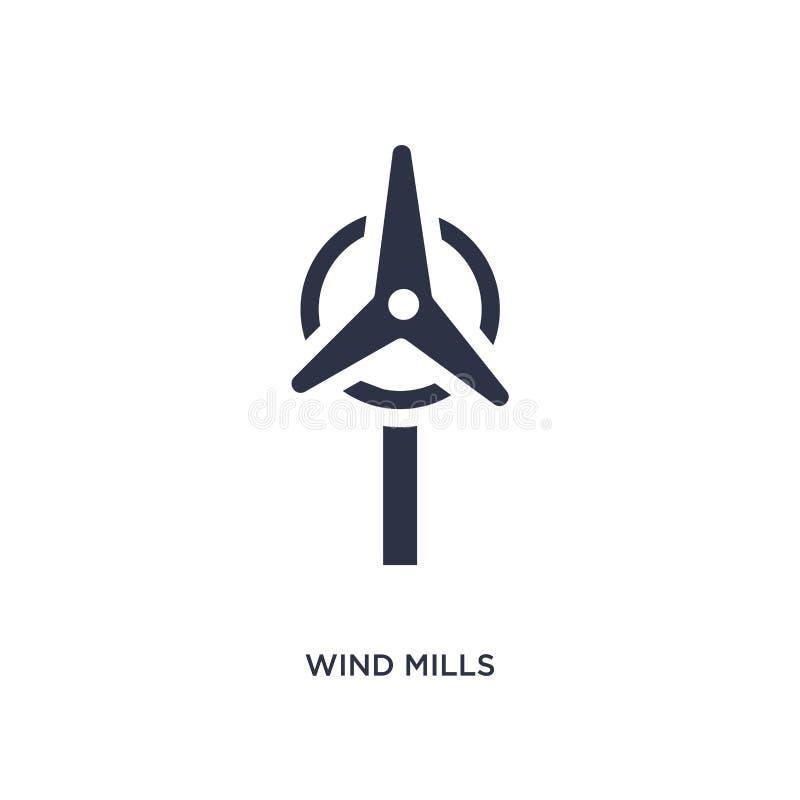 wiatrowych młynów ikona na białym tle Prosta element ilustracja od ekologii pojęcia royalty ilustracja