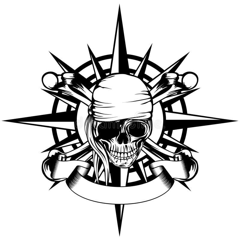Wiatru pirat i róża ilustracja wektor