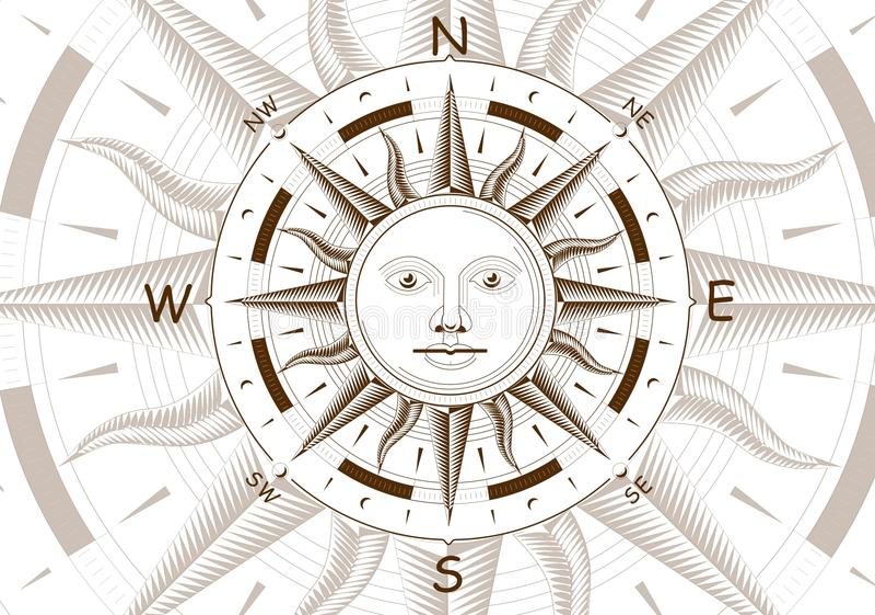 Wiatru różany cyrklowy wektor royalty ilustracja
