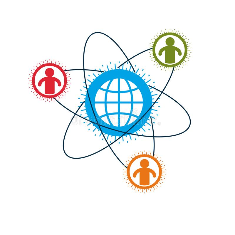 ?wiatu i osoby kreatywnie logo, unikalny wektorowy symbol tworzy? z r??nymi ikonami Systemu i socjalny matrycy znak Osoba i ilustracja wektor