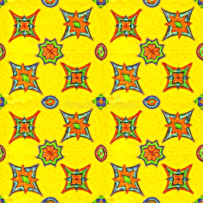 Wibrujące kolor gwiazdy na żółtym tle bezszwowy wzoru ilustracja wektor