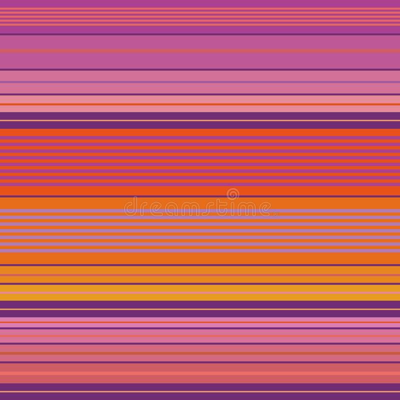 Wibrujące purpury, menchie i pomarańcze gęsto paskujący projekt, Bezszwowy wektoru wzór z jaskrawym plażowym klimaty Wielki dla p ilustracja wektor