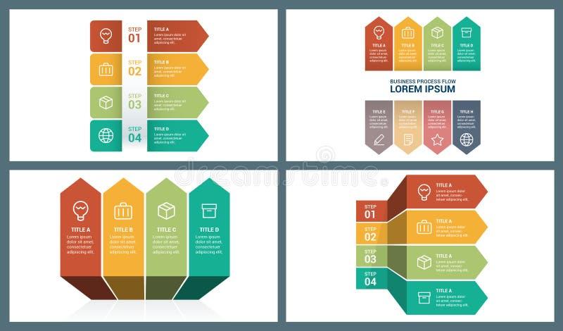 Wibrującego Gorącego Colour Infographic Wektorowi Perspektywiczni Strzałkowaci elementy ilustracji