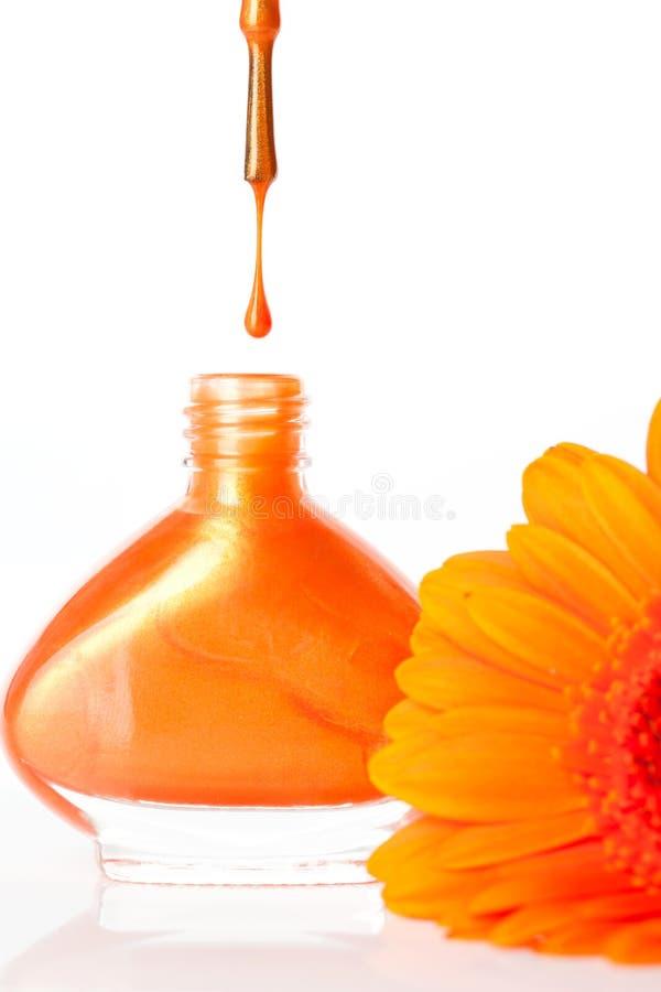 Wibrujący colourful pomarańczowy gwoździa lakier zdjęcia royalty free