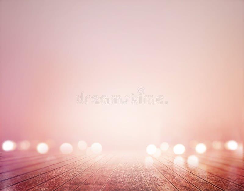 Wibrujący drewniany podłogowy pastel i bokeh dla tła, miękkiej części i plamy pojęcia, zdjęcie stock