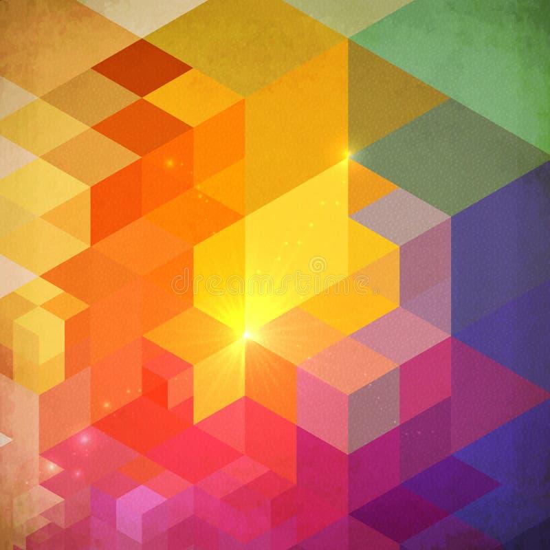 Wibrujący kolorowy abstrakcjonistyczny geometrii tło ilustracja wektor