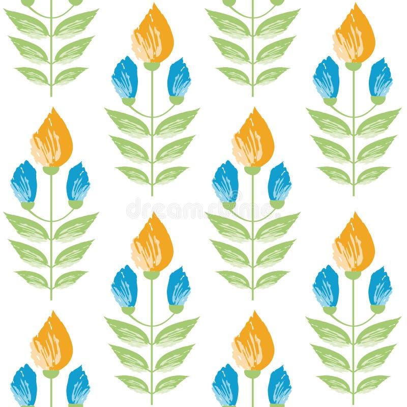 Wibrujący szafranu i aqua błękitni painterly kwiaty w minimalnym adamaszka stylu projekcie Bezszwowy wektoru wzór na bielu ilustracja wektor