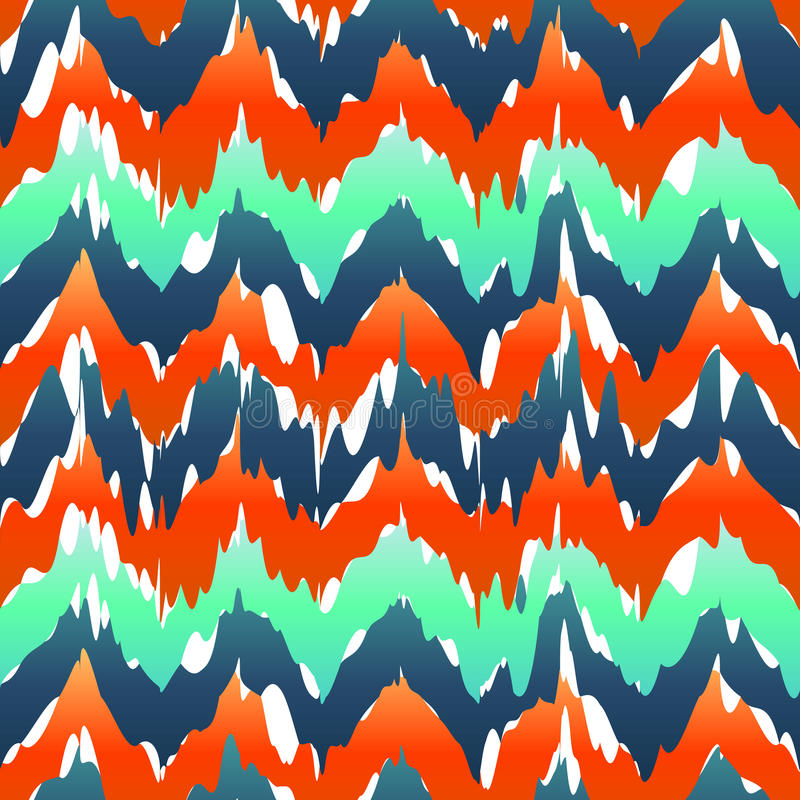 Wibrujący szewronu wzór Wiosna zygzakowatego wzoru zieleni błękitny kolor ilustracji
