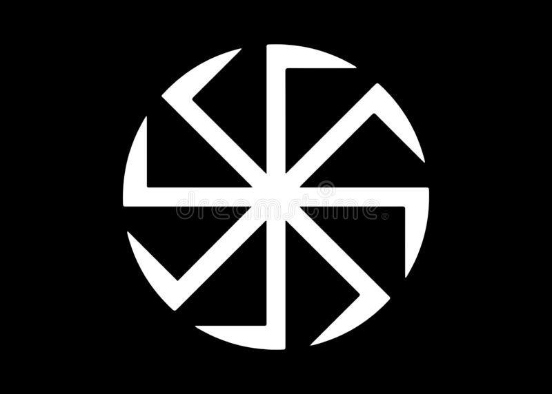 Kolovrat, the swastika or sauwastika is a geometrical figure and an ancient religious icon in the cultures of Eurasia. It is used as a symbol of divinity and stock illustration
