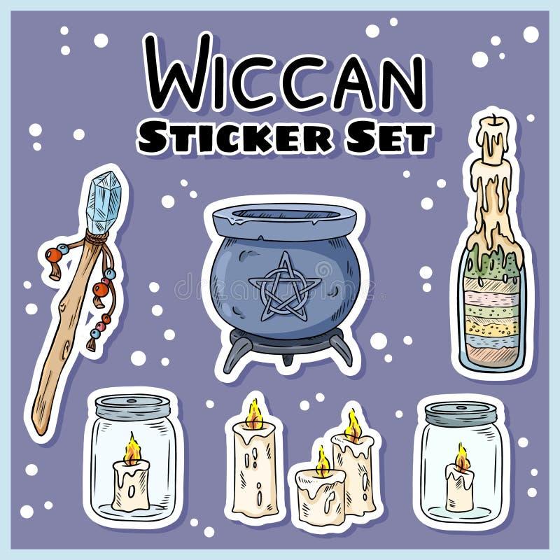 Wiccan贴纸集合 巫术标签的汇集 巫婆标志:大锅,鞭子,蜡烛 皇族释放例证