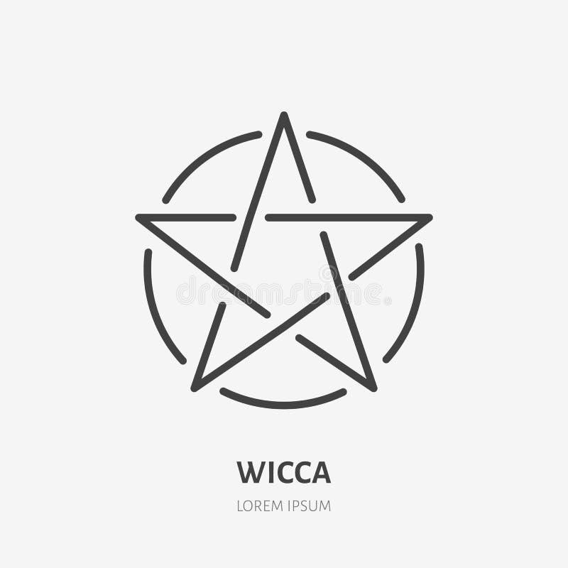 Wiccan pentacle mieszkania linii ikona Wicca magii znak Cienki liniowy logo dla neopaganism religii ilustracja wektor