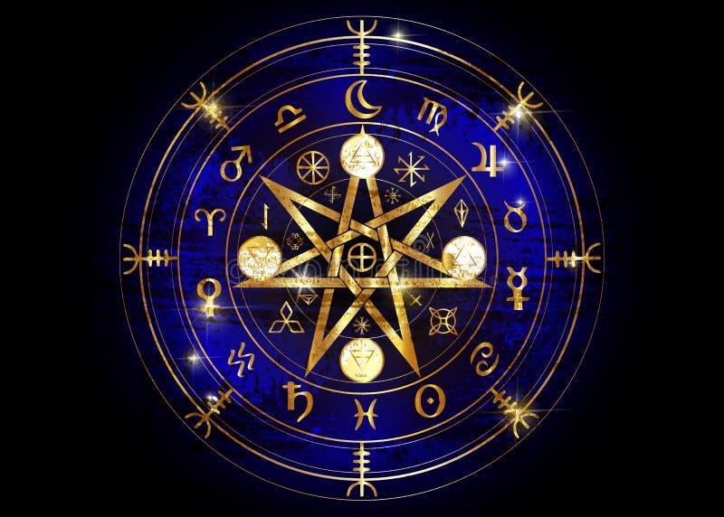 Wiccan-Symbol des Schutzes Altgold-Mandala Witches-Runen, mystische Wicca-Weissagung Alte geheimnisvolle Symbole, Erdtierkreis-Ra stock abbildung