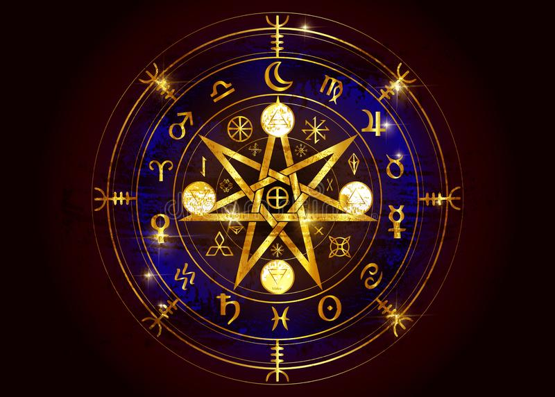 Wiccan-Symbol des Schutzes Altgold-Mandala Witches-Runen, mystische Wicca-Weissagung Alte geheimnisvolle Symbole, Erdtierkreis-Ra lizenzfreie abbildung