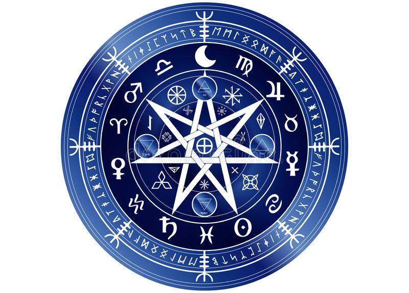 Wiccan-Symbol des Schutzes blaue Mandala Witches-Runen, mystische Wicca-Weissagung Alte geheimnisvolle Symbole, Tierkreis-Radzeic stock abbildung