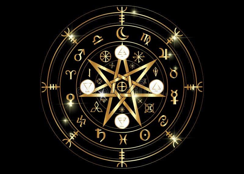 Wiccan-Symbol des Schutzes Gold-Mandala Witches-Runen, mystische Wicca-Weissagung Alte geheimnisvolle Symbole, Erdtierkreis-Rad stock abbildung
