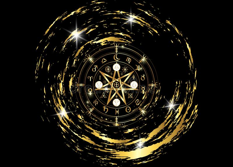Wiccan-Symbol des Schutzes Gold-Mandala Witches-Runen, mystische Wicca-Weissagung Alte geheimnisvolle Symbole, Erdtierkreis-Rad lizenzfreie abbildung