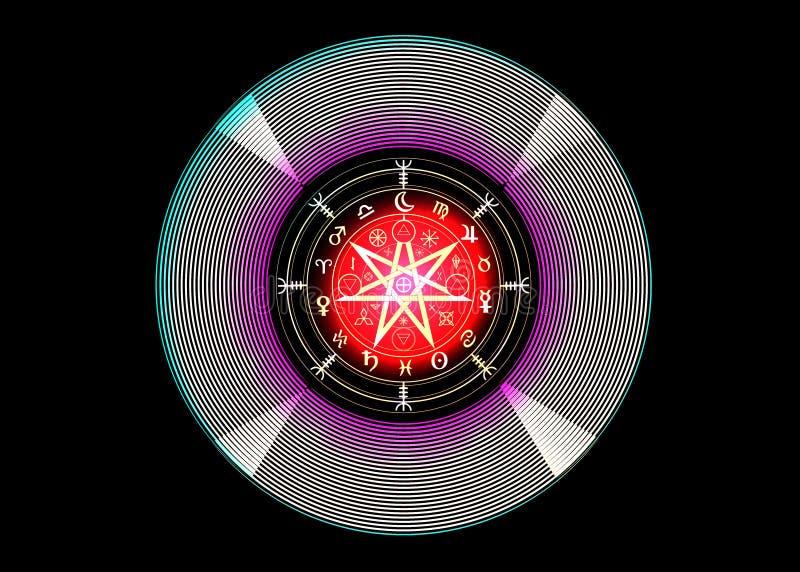 Wiccan-Symbol des Schutzes Mandala Witches-Runen, mystische Wicca-Weissagung Bunte alte geheimnisvolle Symbole Boho-Art, lokalisi stock abbildung