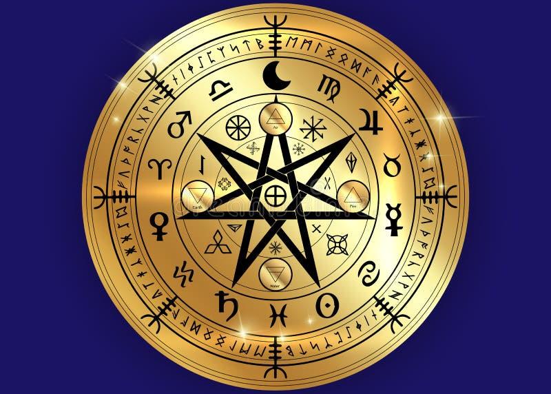 Wiccan symbol ochrona Złociści mandala czarownic runes, mistyczki Wicca wróżba Antyczni occult symbole, Ziemski zodiaka koło ilustracja wektor