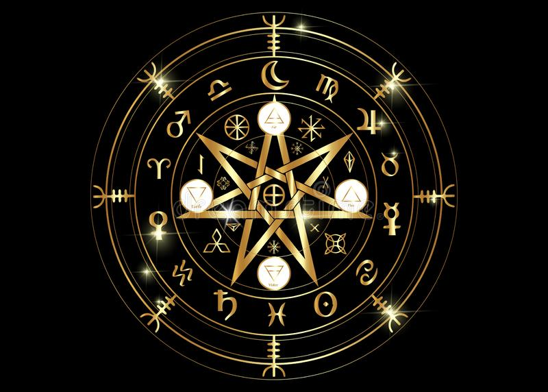 Wiccan symbol of protection. Gold Mandala Witches runes, Mystic Wicca divination. Ancient occult symbols, Earth Zodiac Wheel. Of the Year Wicca Astrological stock illustration