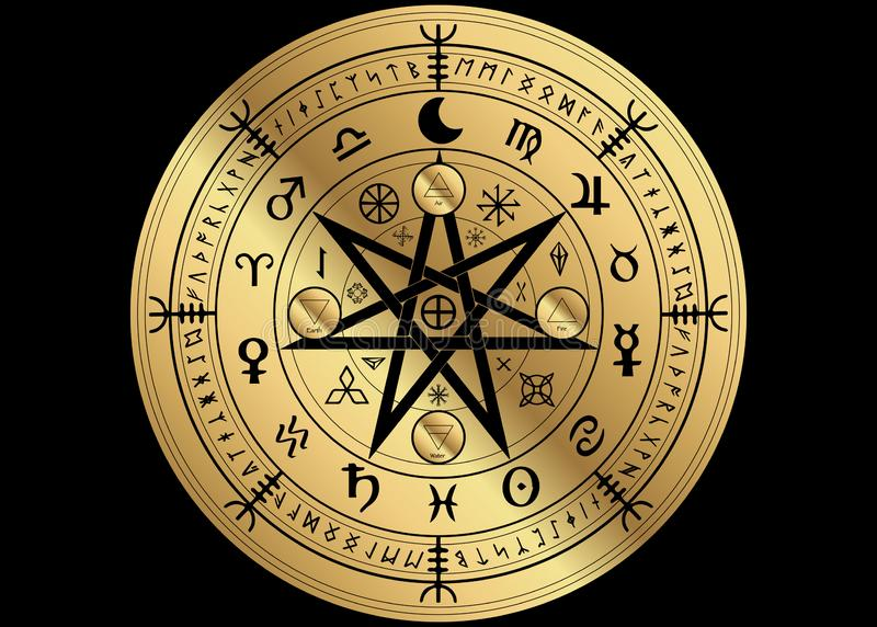 Wiccan symbol of protection. Golden Mandala Witches runes, Mystic Wicca divination. Ancient occult symbols, Zodiac Wheel signs. Gold Wiccan symbol of protection royalty free illustration