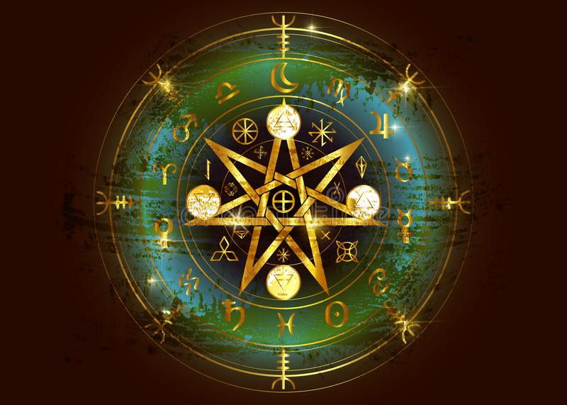 Wiccan symbol of protection. Old Gold Mandala Witches runes, Mystic Wicca divination. Ancient occult symbols, Earth Zodiac Wheel. Wiccan symbol of protection vector illustration